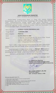 Lembaga Kajian Indonesia, LKI, Surat Keterangan Terdaftar Lembaga Kajian Indonesia