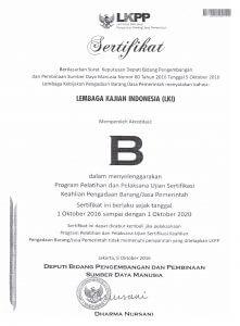 Lembaga kajian Indonesia Adalah Lembaga Terakreditasi B di LKPP di bidang Pelatihan Pengadaan Barang dan Jasa (PBJ)